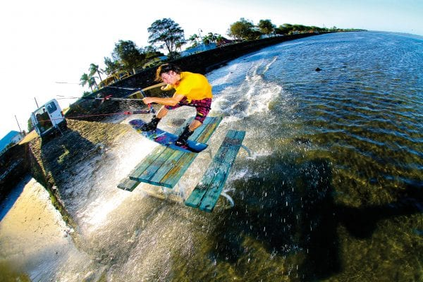 Always down to try one of Toby's crazy ideas, Cam Prest jibs a picnic table over inch deep water for a cover of Core.
